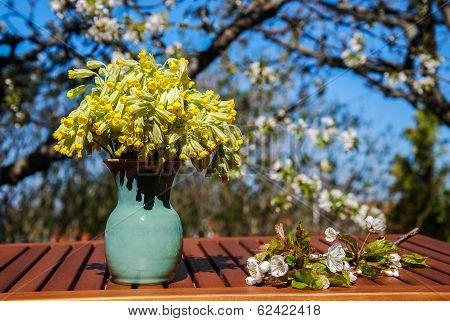 Decorated Table In A Sunny Garden At Spring
