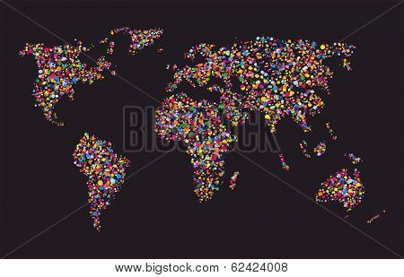 Grunge Colourful Collage Of World Map On Black Background - Vector Illustration For Travel Design