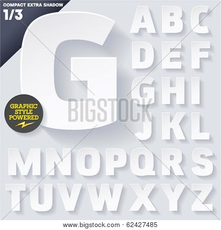 Modern flat alphabet for infographics with long ambient shadow. Vector set. Upper case