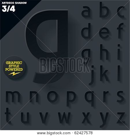 Modern flat alphabet for infographics with long ambient shadow. Vector set.  Black Small case