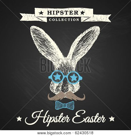 Hipster Easter - Easter Poster With Bunny.