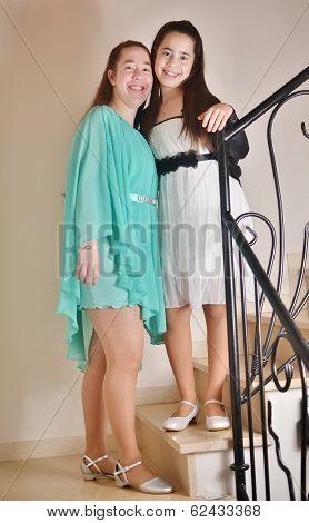 Bat Mitzvah Girl With Her Older Sister