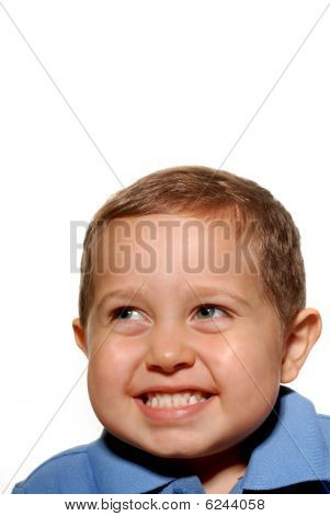 Smiling young hispanic boy against white background poster