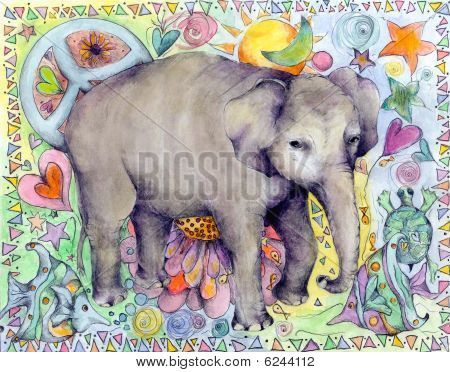 Whimsical Elephant Illustration