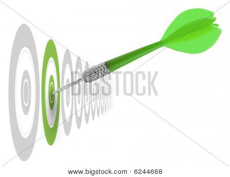 successful dart reaching the green goal symbol a success or a business challenge the image is isolated on a white background - illustration poster