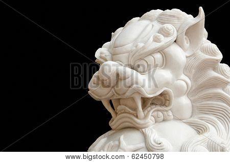Jade Chinese lion isolation on black
