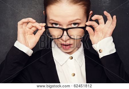 Surprised Funny Teacher In Glasses Shouts