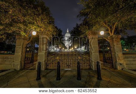 The Texas State Capitol Building in downtown Austin at Night. Built in 1882-1888 of distinctive sunset red granite. poster