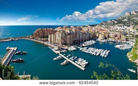 Panoramic view of Monte Carlo harbour in Monaco. Azur coast.