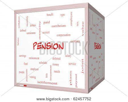 Pension Word Cloud Concept On A 3D Cube Whiteboard