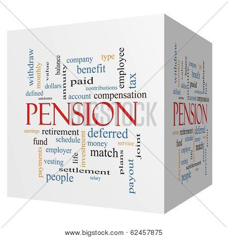 Pension 3D Cube Word Cloud Concept