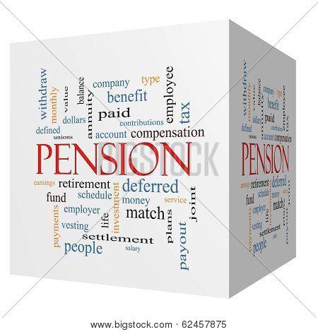 Pension 3D Cube Word Cloud Concept