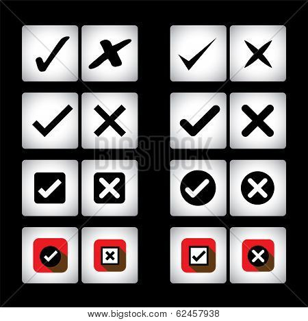 tick mark & cross sign vector icons set on black background. This graphic can also represent selection options of right wrong also valid invalid true false correct incorrect yes no poster