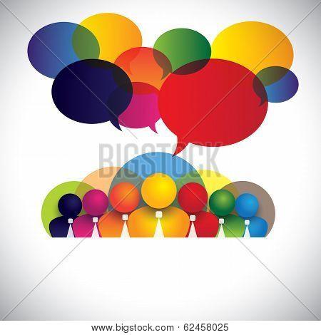 Company White Collar Employees, Multi Racial Executives - Concept Vector