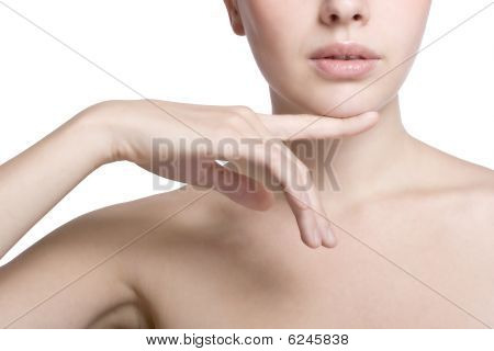 Woman Touching With Her Hand The Healthy Skin