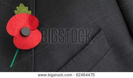 Poppy on Jacket Lapel for Remembrance, Armistice and Anzac Day.