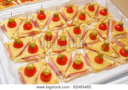 Snack of small sandwiches