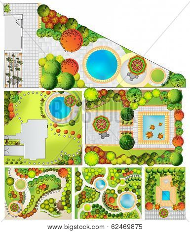 Collections od  Landscape Plan with treetop symbols