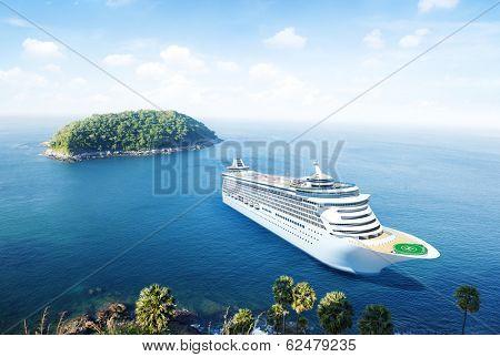 3D Cruise Ship by an Island