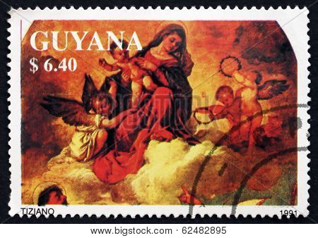 Postage Stamp Guyana 1991 Madonna And Child With Angels