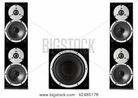 Pair of black high gloss music speakers and subwoofer isolated on white background poster