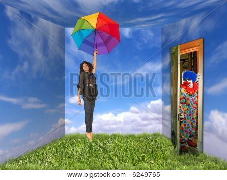 Woman And Clown In Landscape-painted Room