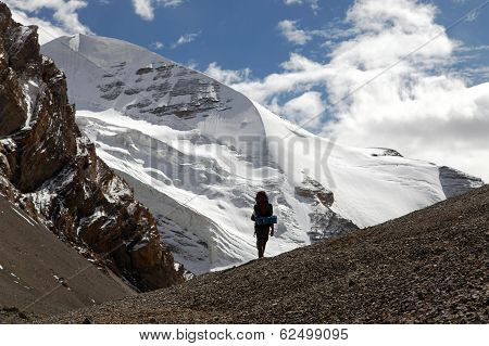Silhouette of tourist on mountain - Takling La pass - Indian Himalayas - India poster