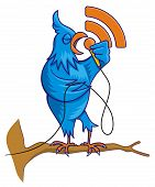 Cartoon illustration of blue bird on a tree branch singing with RSS icon poster