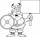 Black and white illustration of a Viking holding a sign. poster