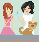 dog is sitting on the table with a hairdresser, vector illustration poster