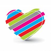 Valentines Day rainbow color background with Hearts, ,element for design, vector illustration poster