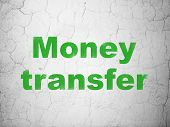 Finance concept: Green Money Transfer on textured concrete wall background, 3d render poster
