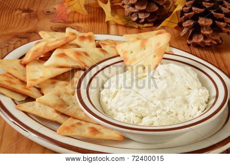 Pita Bread Crackers And Cheese Dip