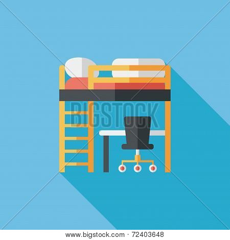 Bed And Desk Flat Icon With Long Shadow