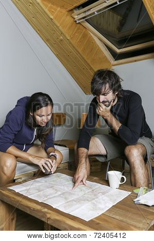 Mountaineers In A Shelter