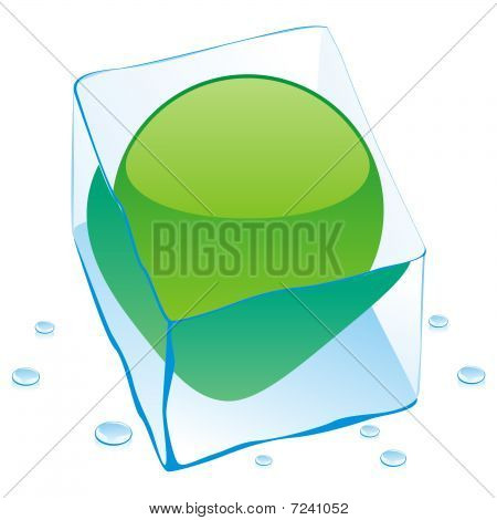vector illustration of lybia button flag frozen in ice cube