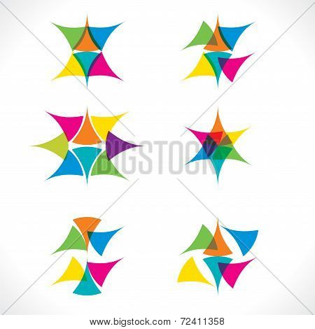 abstract colorful triangle icon design vector