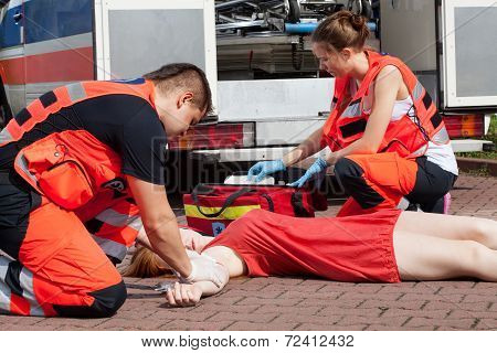 Young Girl Fainting In Hot Day