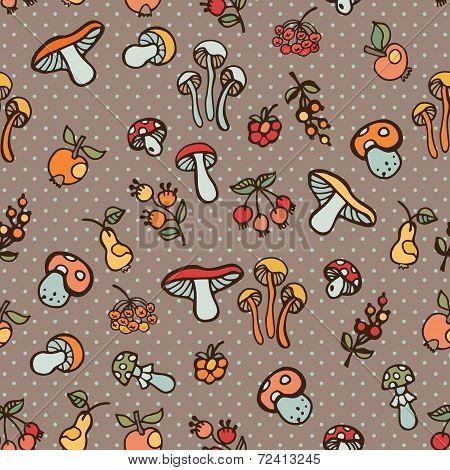 Doodle seamless pattern.Autumn harvest vector.Polka dot