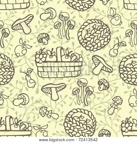 Doodle outline seamless pattern.Autumn harvest vector