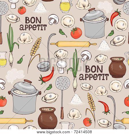 Bon Appetit seamless background pattern