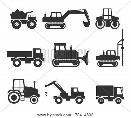 Cut Out Black Construction Machinery Icon Symbol Graphics on White poster