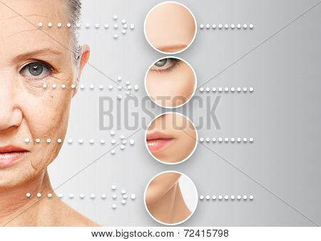 beauty concept skin aging. anti-aging procedures rejuvenation lifting tightening of facial skin restoration of youthful skin anti-wrinkle poster