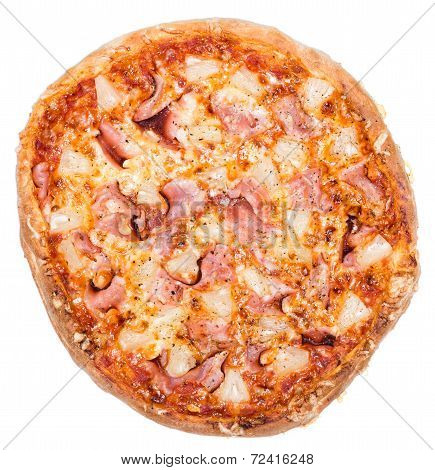 Fresh made Ham and Pineapple Pizza isolated on white background poster