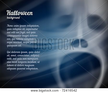Scary vector Halloween background with copyspace for text with a spooky hazy face of a ghost or ghoul with its mouth wide open in a scream poster