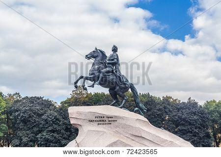 Peter I monument against cloud sky