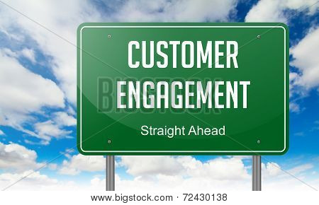 Highway Signpost with Customer Engagement wording on Sky Background. poster