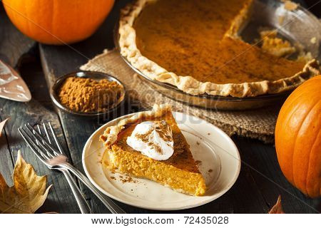 Homemade Pumpkin Pie for Thanksigiving Ready to Eat poster