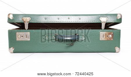 open green old suitcase isolated on white