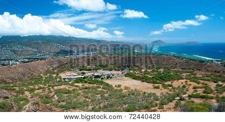 Diamond Head State Monument Park Trail close Honolulu on Oahu Hawaii panorama